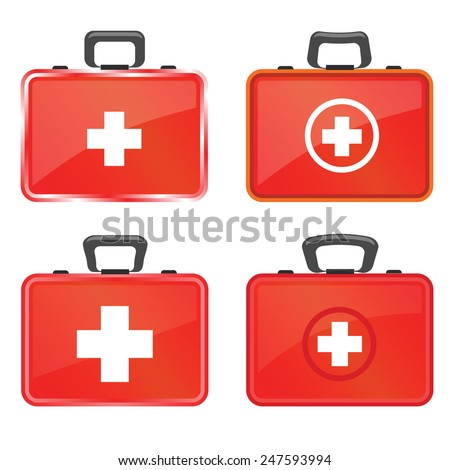 colorful illustration  with first aid kit icons on white  background - stock vector