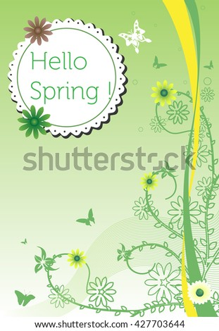 Colorful illustration with flowers and butterflies and the text hello spring written on a rounded tag - stock vector