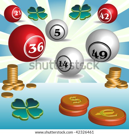 Colorful illustration with golden coins, cloverleaf and colored lottery balls with various numbers - stock vector