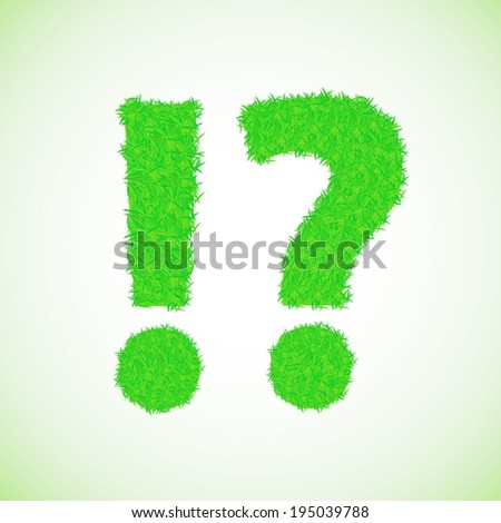 colorful illustration with grass question mark on a green background for your design
