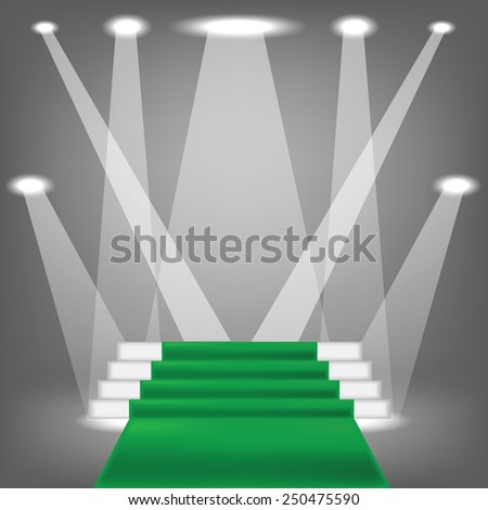 colorful illustration  with green carpet  on grey background - stock vector