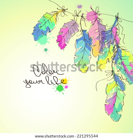 Colorful illustration with hanging bird feathers - stock vector