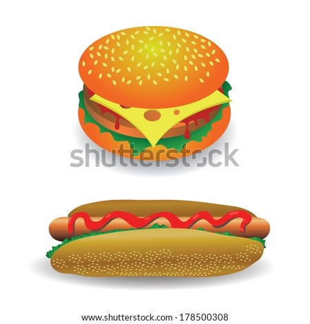 colorful illustration with hot dog and hamburger  for your design - stock vector