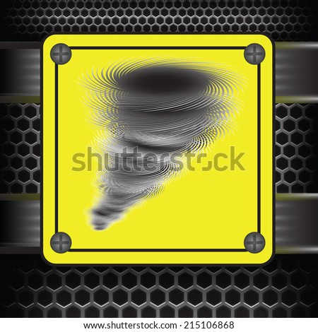 colorful illustration with Hurricane warning sign on a dark background - stock vector