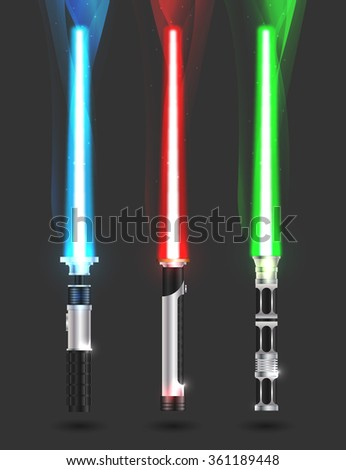 colorful illustration with light sabers - stock vector