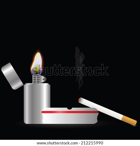 colorful illustration with  lighter and cigarette  on a dark background - stock vector
