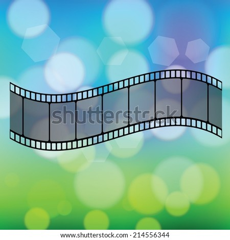 colorful illustration with Old film strip  on a blurred  background - stock vector