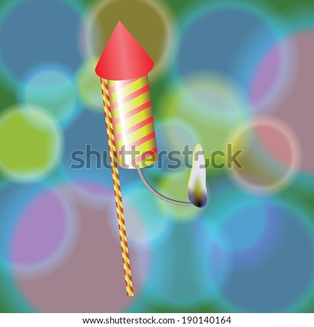 colorful illustration with  petard  on a blurred background for your design - stock vector