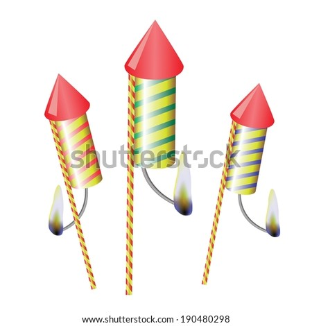 colorful illustration with petards on a white  background for your design - stock vector