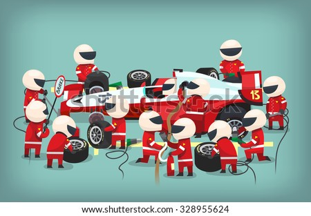 Colorful illustration with pit stop workers and engineers maintaning technical service for a racing car during a motor racing event. - stock vector