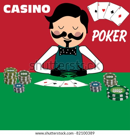 Colorful illustration with poker dealer showing cards and counting poker chips - stock vector