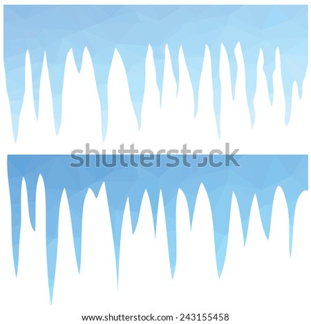 colorful illustration  with  polygonal blue icicles  on white background - stock vector