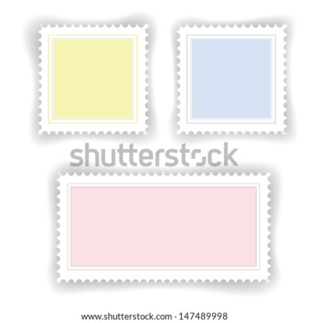 colorful illustration with postage  stamps for your design - stock vector