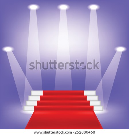 colorful illustration  with red carpet on blue background - stock vector