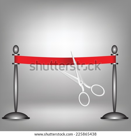 colorful illustration with red ribbon on a grey background - stock vector