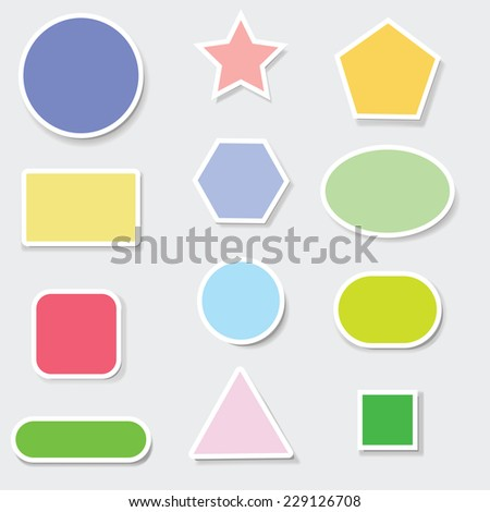 colorful illustration with set of paper labels on a grey  background - stock vector