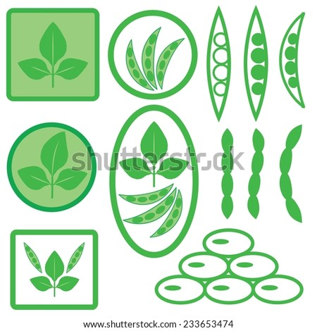 colorful illustration with soya icons on white background - stock vector
