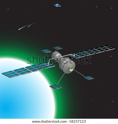 Colorful illustration with space satellite orbiting above the earth - stock vector