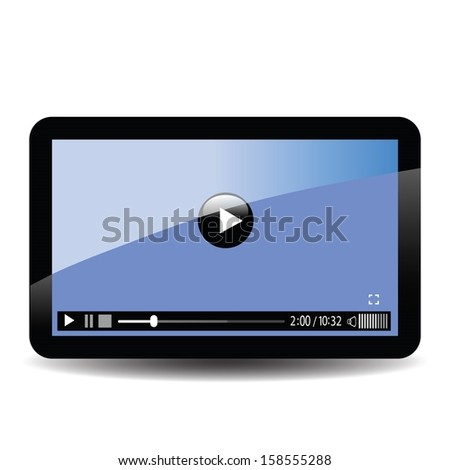 colorful illustration with tablet computer for your design - stock vector