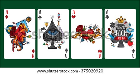 Colorful images of playing cards four aces. - stock vector