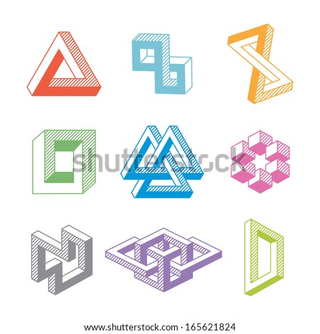 Colorful impossible geometric shapes. Vector elements - stock vector