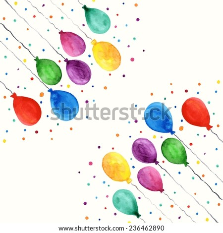 Colorful Inflatable Balloons Birthday Card Decoration Vector – Birthday Card Decoration