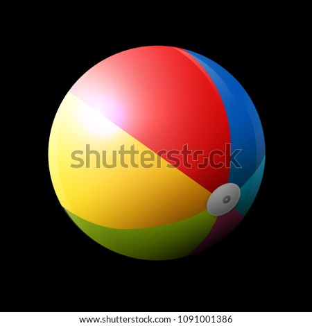 Colorful Inflatable Beach Ball on Dark Background. Vector.