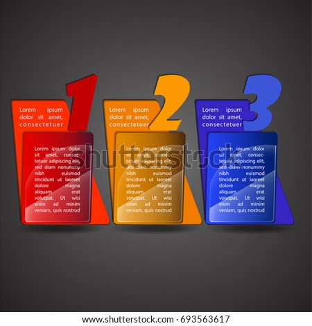 Colorful Info-graphics Illustration Vector with three diagram