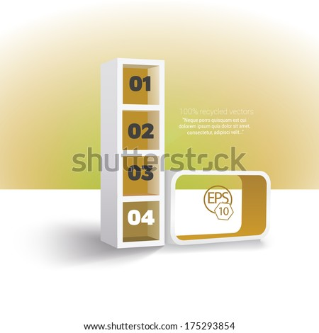 Colorful infochart, simple menu illustration - in minimal interior furniture design style Yellow edition  - stock vector