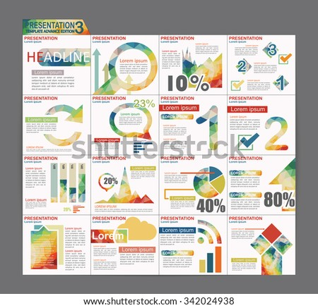 Colorful Infographic Presentation Template Brochure Flyer Design Set - stock vector