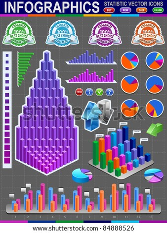 Colorful infographic vector collection. Statistic vector icons. - stock vector