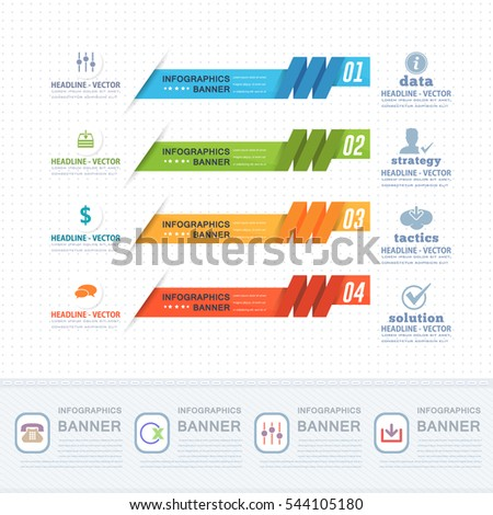 Colorful Infographics Shapes Illustration, Multicolored Stats Arrows Template with Business Strategy Flat Web Icons. Website Banner Design and Presentation Elements