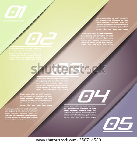 Colorful infographics template with 5 diagonal stripes. Vector illustration, can be used for business presentations, web design.