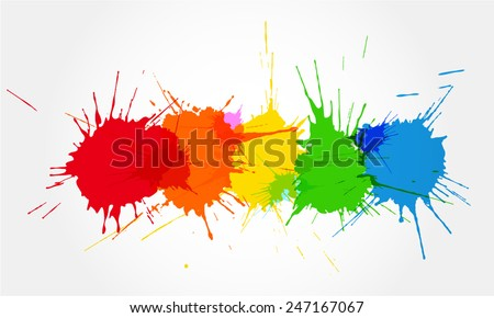 Colorful ink splashes.