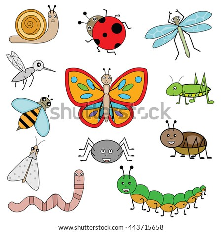 Colorful insects set in children cartoon style. Vector illustration, isolated design elements - stock vector