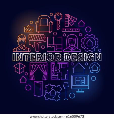 Colorful interior design illustration vector concept stock for Colorful concepts interior design