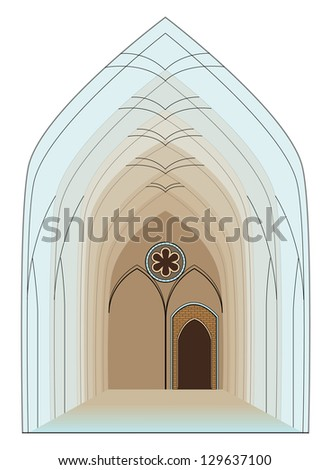 Colorful Interior of Gothic Cathedral- vector illustration - stock vector