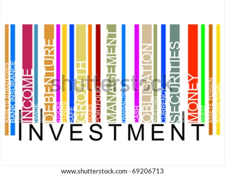 colorful INVESTMENT text barcode, vector - stock vector