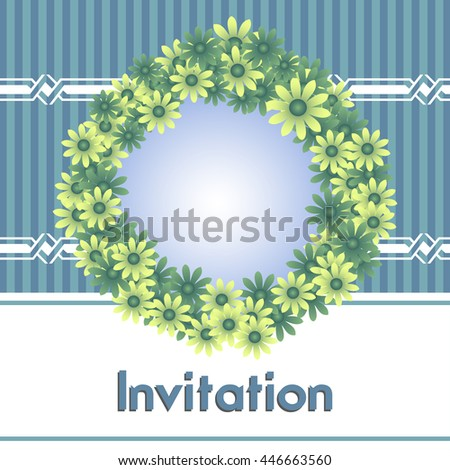 Colorful invitation with flower frame - stock vector