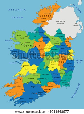 Colorful Ireland political map with clearly labeled, separated layers. Vector illustration.