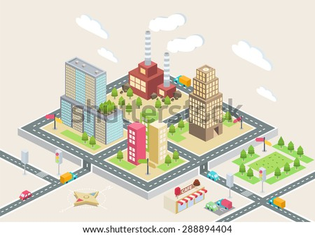 Colorful isometric city, city info graphics
