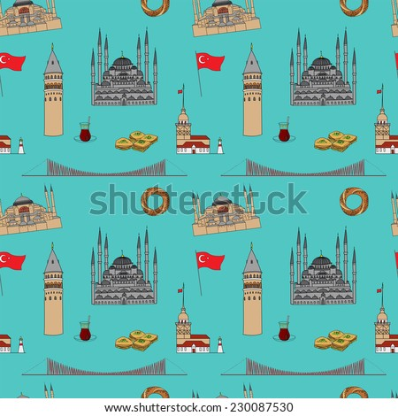 Colorful Istanbul tourist vector seamless pattern - stock vector