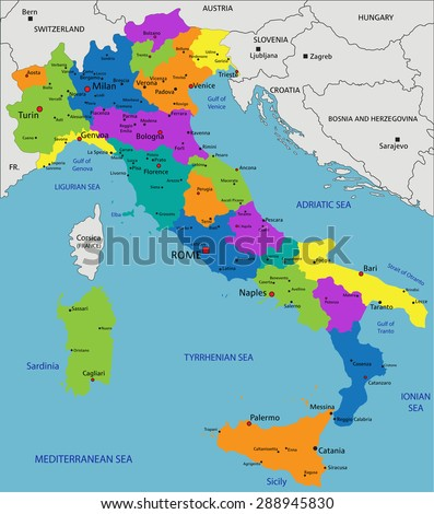 Colorful Italy political map with clearly labeled, separated layers. Vector illustration. - stock vector