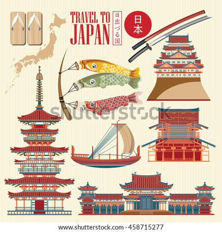 Colorful Japan travel poster - travel to Japan. There is text in Japanese  - Japan and  Land of the rising sun. Vector illustration with travel place and landmark.