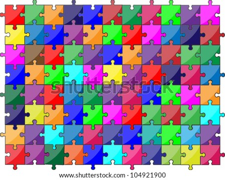 Colorful jigsaw puzzle - stock vector