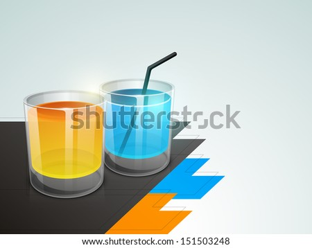 Colorful juices, fresh beverage background.