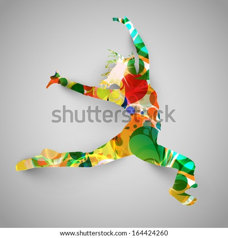 Colorful jumper/dancer vector illustration - stock vector