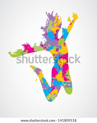 Colorful jumping woman. Vector. - stock vector