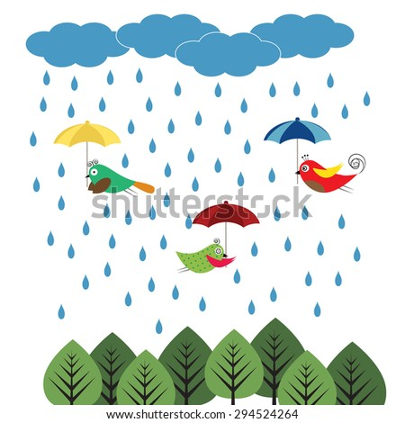 Colorful kids background with birds and umbrellas - stock vector