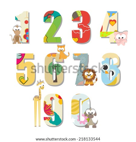 colorful kids counting numbers with sweet animals - stock vector